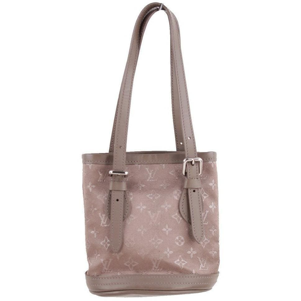 Taupe Monogram Satin Micro Mini Bucket Bag Opherty & Ciocci