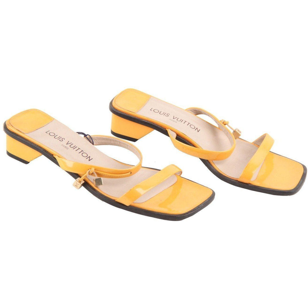 Louis Vuitton Yellow Patent Leather Flat Sandals Shoes Sz 38 Opherty & Ciocci