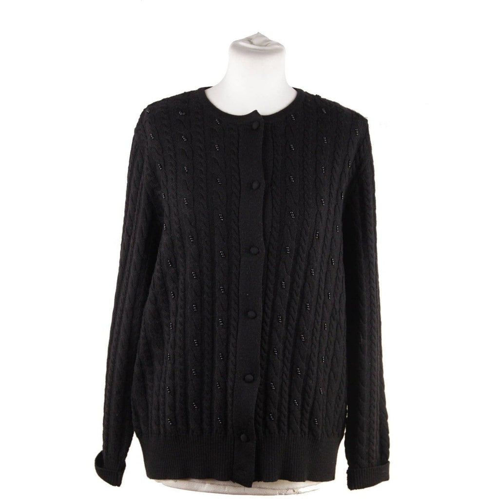 Luisa Spagnoli Black Wool Cardigan Jumper Beads Embellishment Opherty & Ciocci