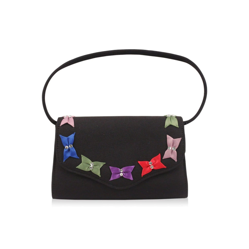 Small Black Evening Bag With Bows Opherty & Ciocci
