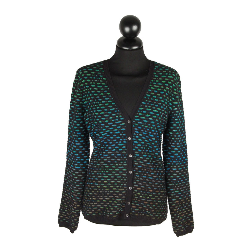 M MISSONI  Black & Green Viscose-Blend TEXTURED CARDIGAN Size 40