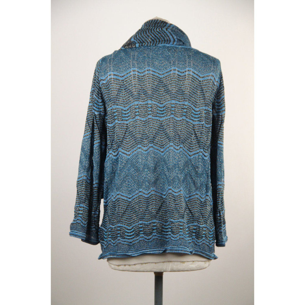 M Missoni Blue Metallised Light Knit Jumper With Scarf Opherty & Ciocci