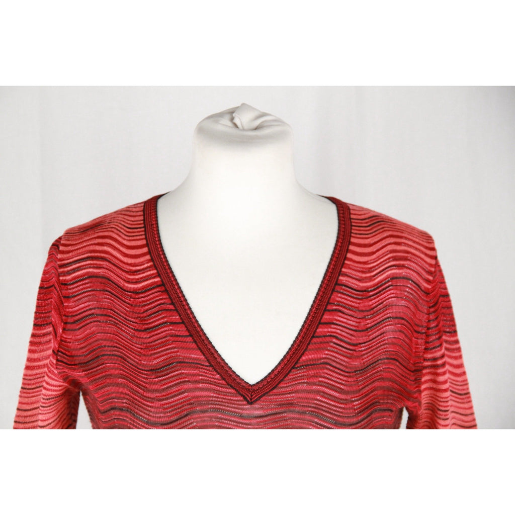 M MISSONI Red Light Weight Knit LONG SLEEVE DRESS Size 40
