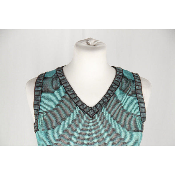 M MISSONI Turquoise Cotton Blend Knit SLEEVELESS TOP Size 42