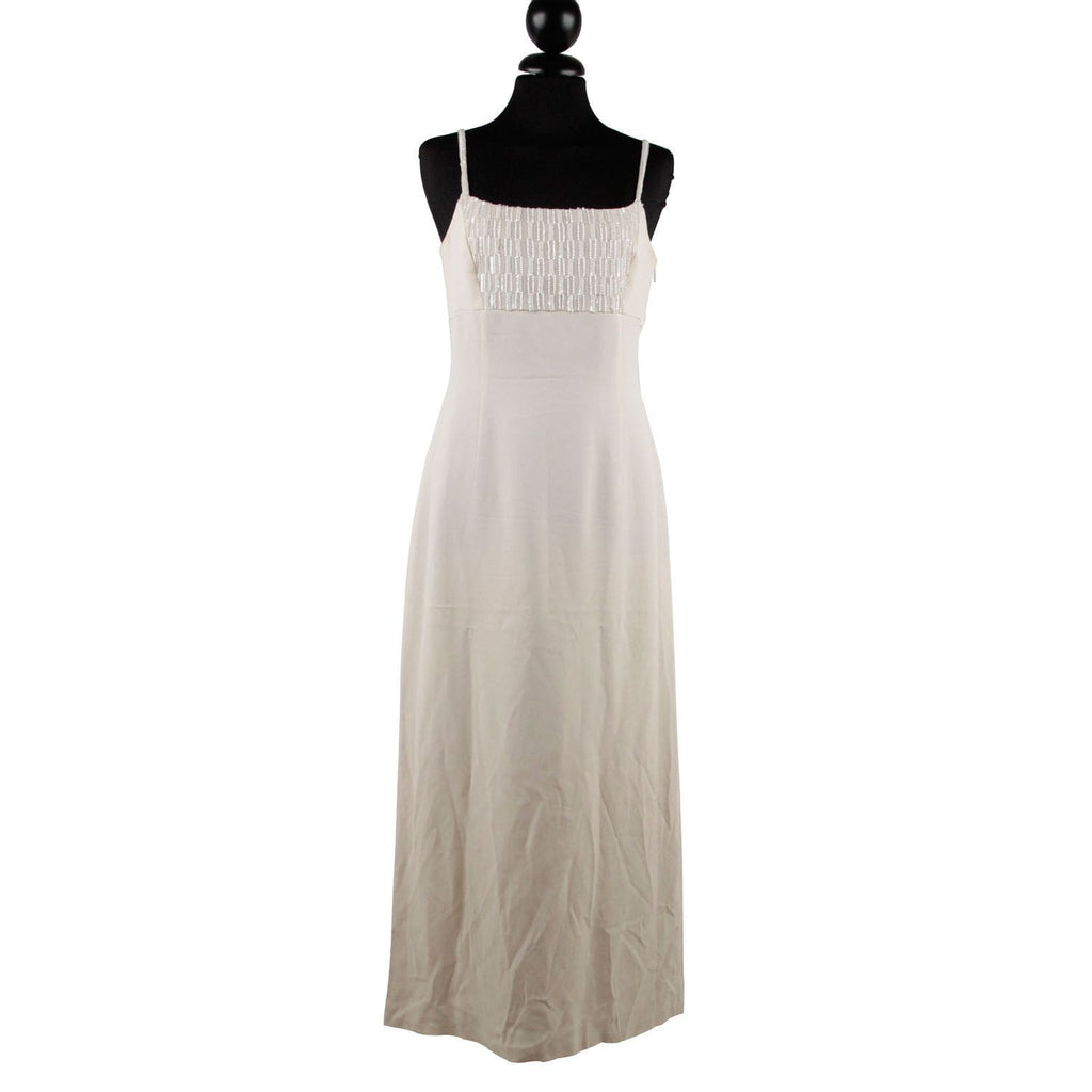 Mani Vintage Ivory Evening Maxi Dress With Beads Size 40 Small Opherty & Ciocci
