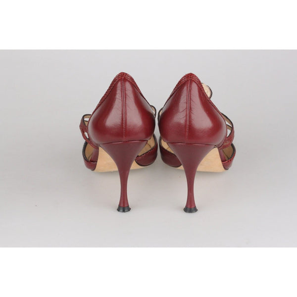 Manolo Blahnik Brown Leather Dorsay Shoes Heels Pumps Size 35.5 Opherty & Ciocci