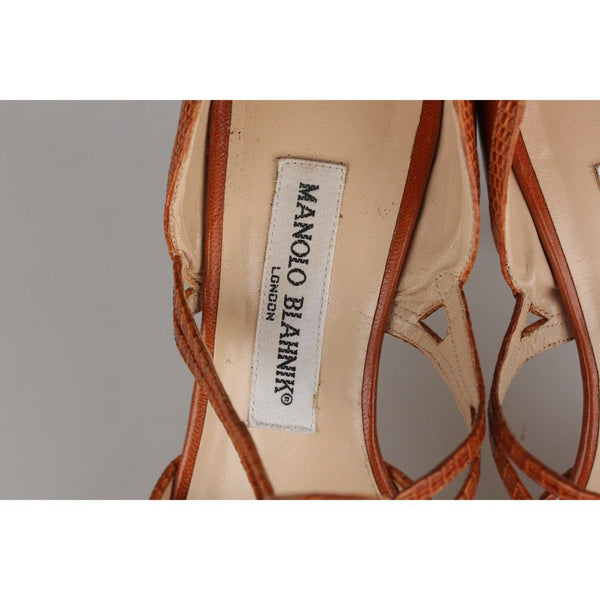 Manolo Blahnik Tan Leather Dorsay Shoes Heels Pumps Size 35.5 Opherty & Ciocci