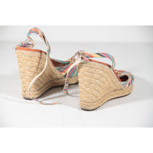 Marc Jacobs Multicolor Stripes Wedge Sandals Platform Shoes Size 39 Opherty & Ciocci