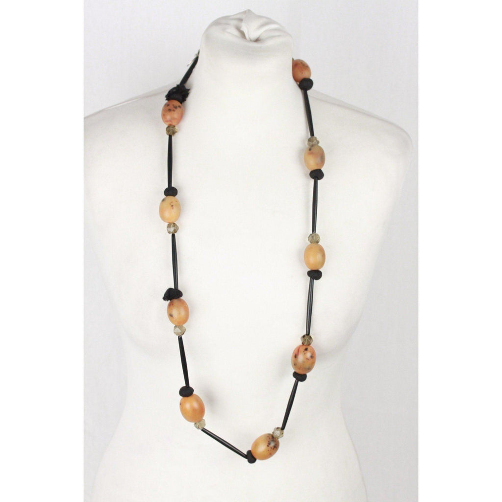 Maria Calderara Black & Amber-Look Beads Long Necklace Opherty & Ciocci