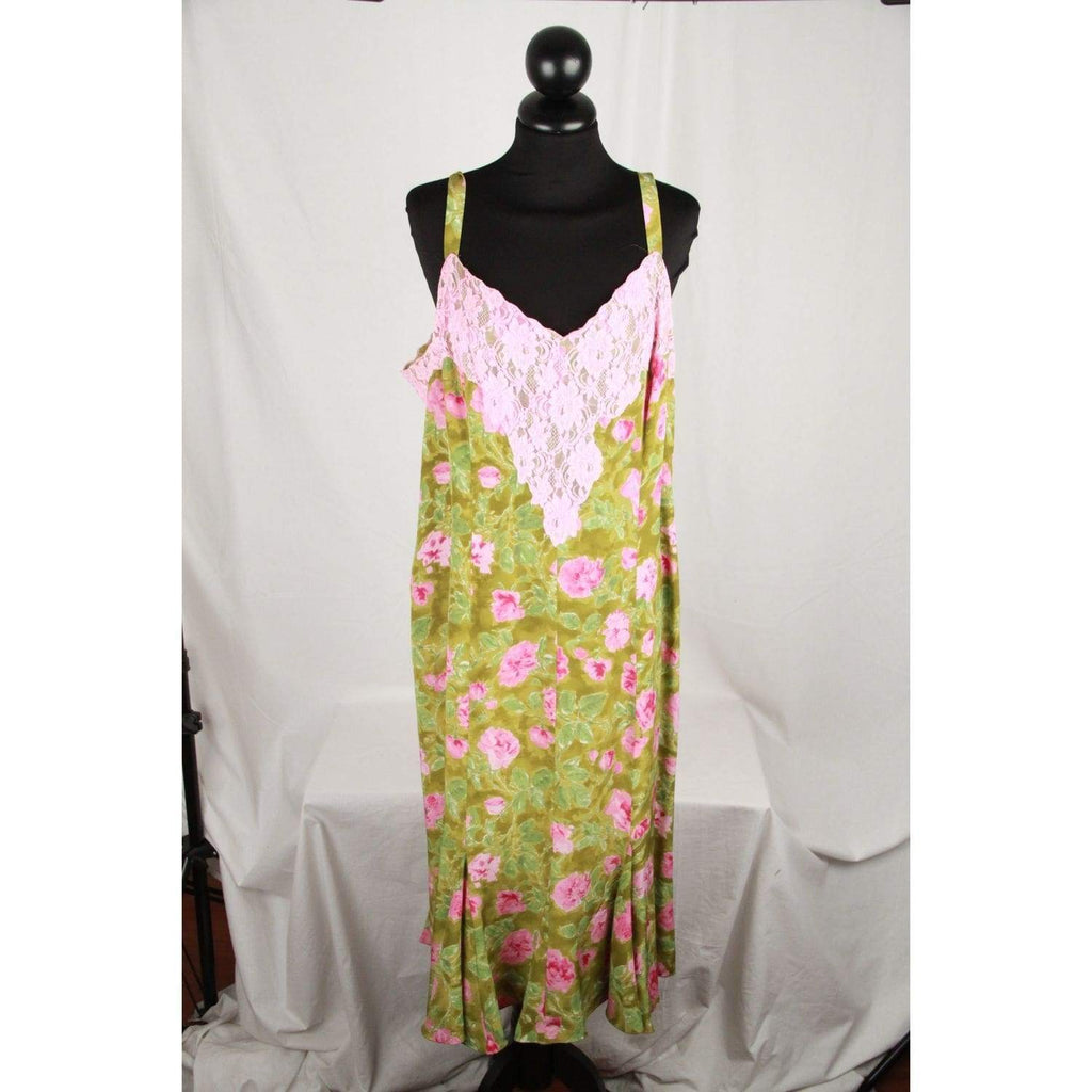 Le Donne Di Mariella Burani Green Floral Silkcami Dress W/ Lace Trim Size 23 Opherty & Ciocci