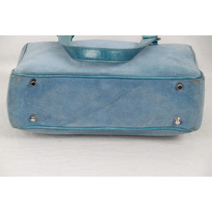 Light Blue Suede Satchel Bag Handbag Opherty & Ciocci