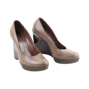 Marni Taupe Leather Wedge Shoes Closed Toe Platform Heels St Opherty & Ciocci