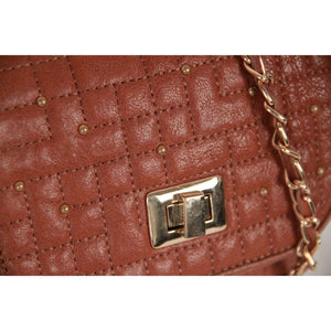 Massimo Dutti Tan Quilted Leather Small Messenger Bag Opherty & Ciocci