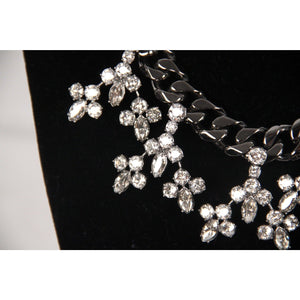 Mawi London Gunmetal Chain Necklace W/ Crystals Opherty & Ciocci