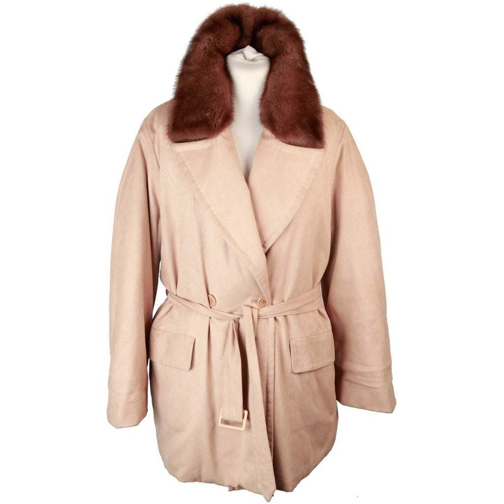 MAX MARA Beige Padded MID LENGHT JACKET w/ Fur Collar SIZE 42