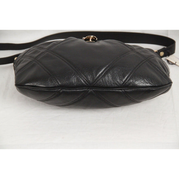 MAX MARA Black Leather SHOULDER BAG w/ Buckle Detail