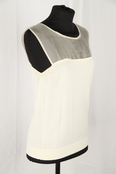 MAX MARA Ivory Viscose Yarn SLEEVELESS TOP w/ SHEER PANEL Size M