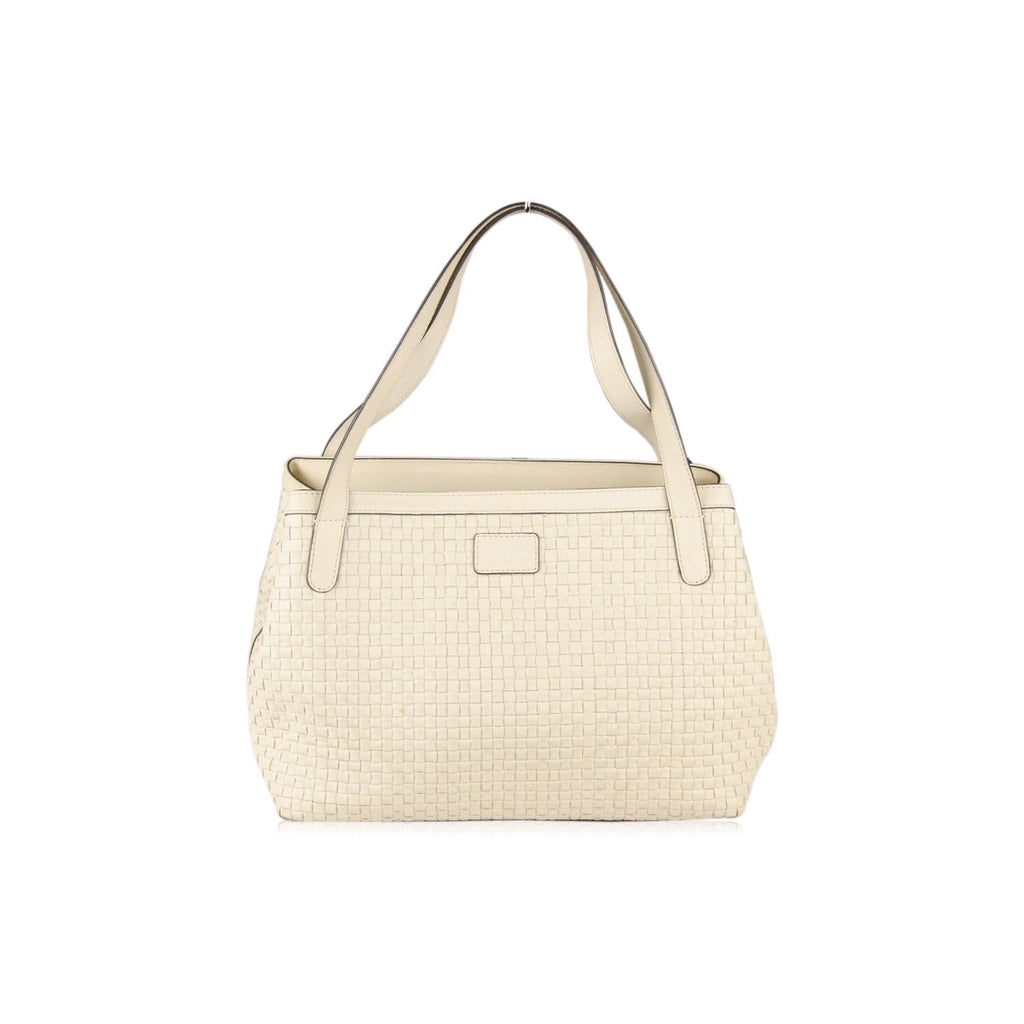 Max Mara Ivory Woven Leather Shoulder Bag Tote Opherty & Ciocci