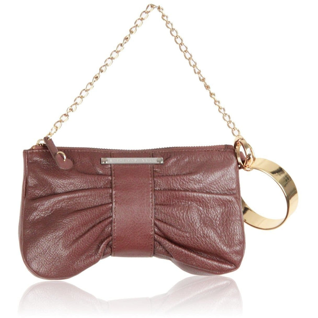 Sportmax Code Brown Leather Wrist Bag Clutch Opherty & Ciocci