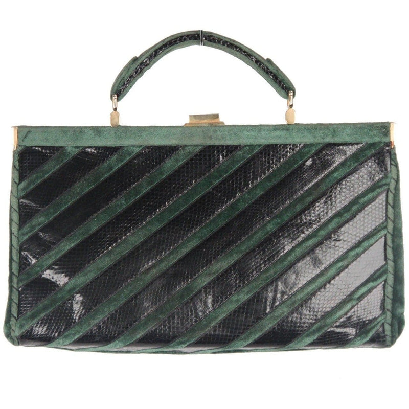 Mazzini Vintage Green Velvet & Black Snakeskin Striped Handbag Opherty & Ciocci