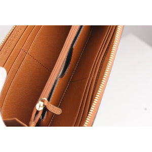 Brown Saffiano Leather Zip Around Wallet With Strap Opherty & Ciocci