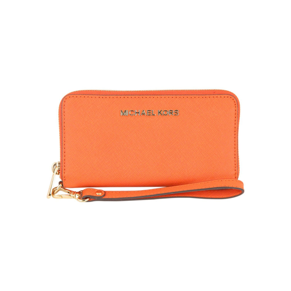 MICHAEL MICHAEL KORS Orange Saffiano Leather Zip Around Phone Wallet
