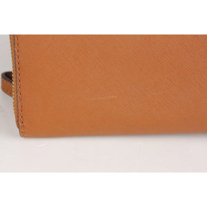 Tan Saffiano Leather Zip Around Phone Wallet Opherty & Ciocci