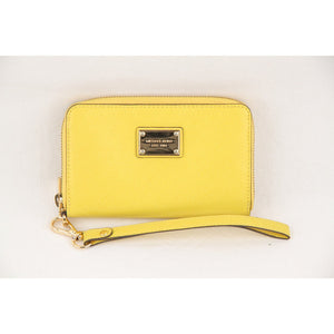 MICHAEL KORS Yellow Saffiano Leather Zip Around Phone Wallet