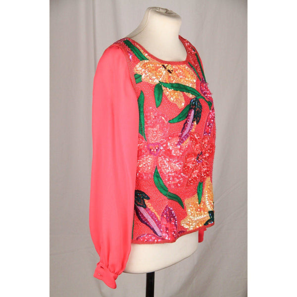 Mimmina Vintage Pink Encrusted Blouse Long Sleeve Opherty & Ciocci