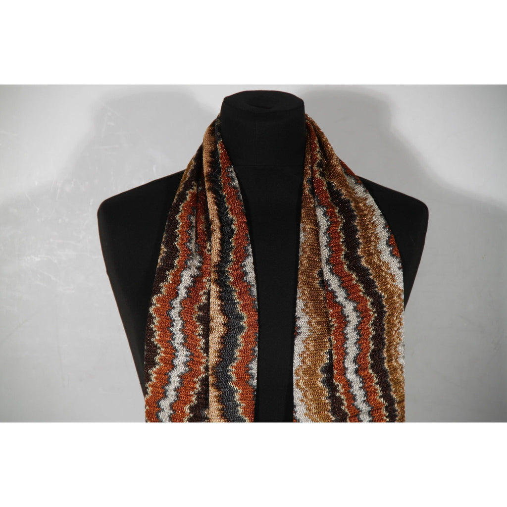 MISSONI Brown ZIG ZAG Light Weight Knit SCARF w/ Fringes