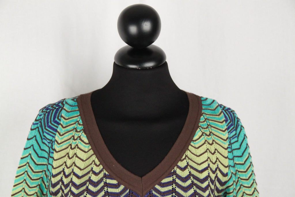 Missoni Green & Turquoise Chevron Light Weight Knit Jumper Size 40 Opherty Ciocci