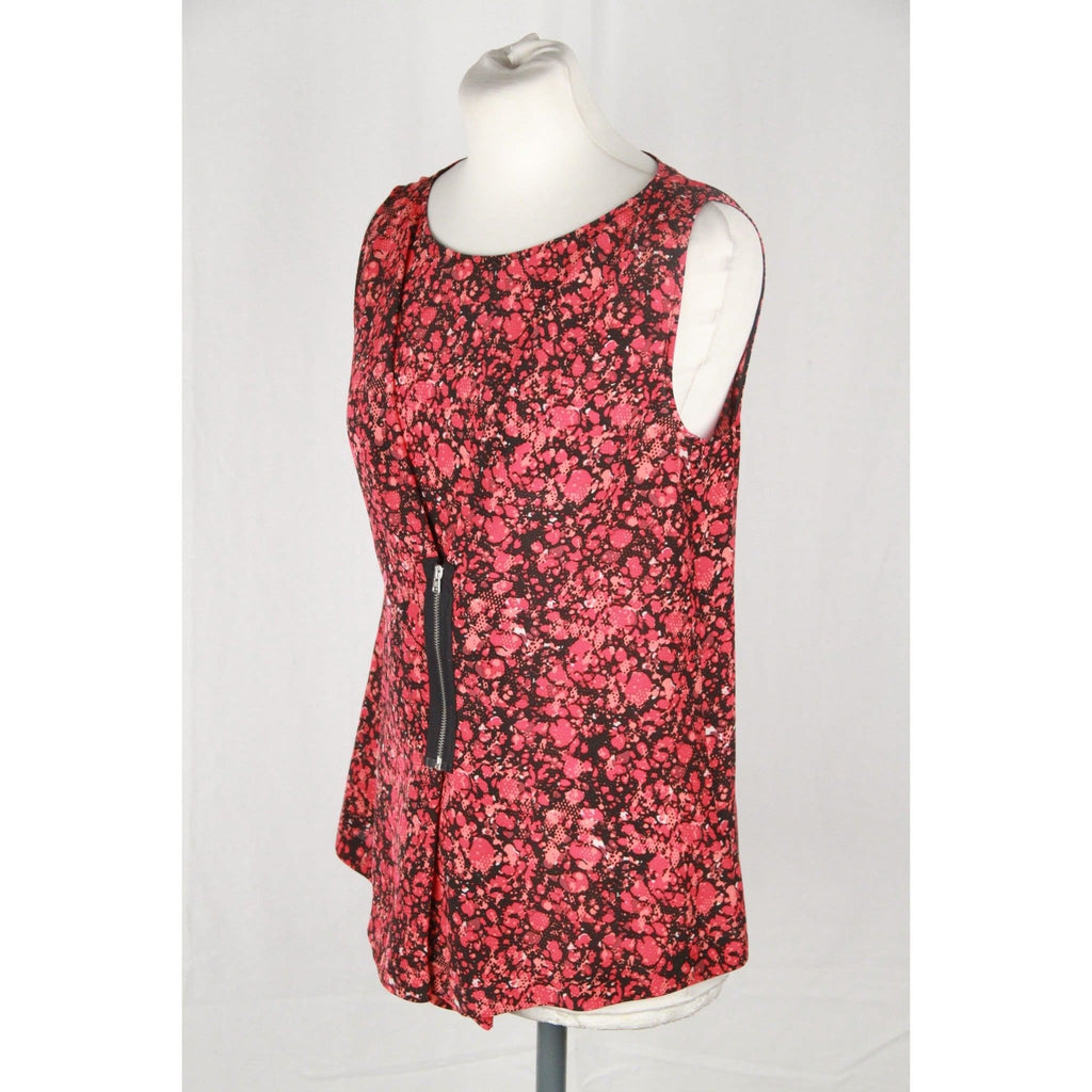 M Missoni Floral Red Silk Sleeveless Top W/ Zip Detail Size 40 It Opherty & Ciocci