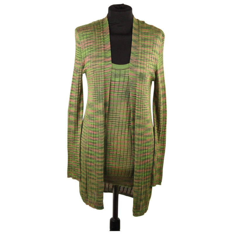 M Missoni Green Light Weight Knit Twin Set Vest Cardigan Size 44 Opherty & Ciocci