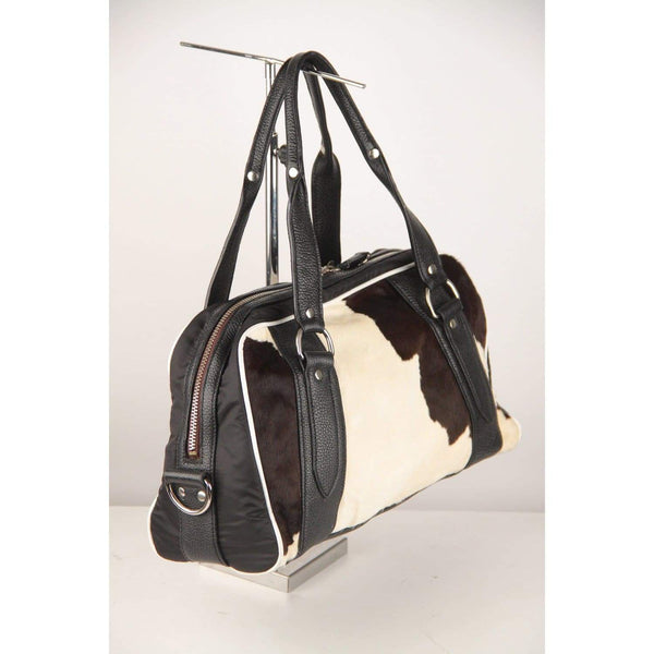 Pony Hair And Leather Bowling Bag Opherty & Ciocci