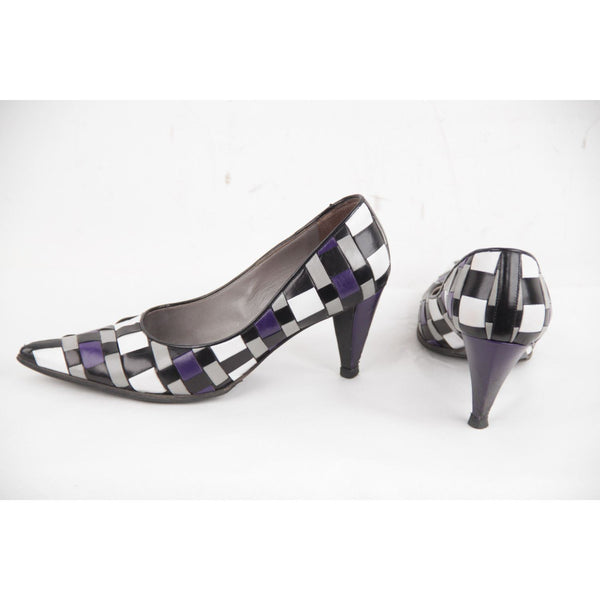 Miu Purple White Black Woven Leather Heels Classic Pumps Shoes 35 Opherty & Ciocci