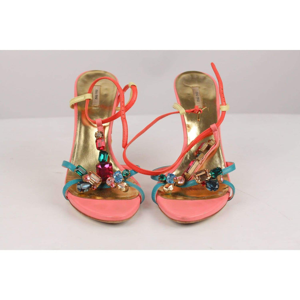 Sandals Pumps With Multicolor Rhinestones Size 38 Opherty & Ciocci
