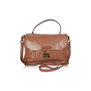 Miu Miu Tan Vitello Soft Leather Satchel With Strap Rn1078 Opherty & Ciocci