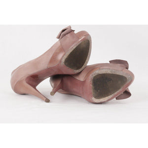 Miu Taupe Leather Open Toe Pumps Heels W/ Bow Size 37 1/2 Opherty & Ciocci