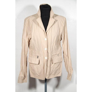 ZZ_MONCLER Beige Tan Nylon & Cotton WINDBREAKER Light Weight JACKET SZ 4 - OPHERTYCIOCCI