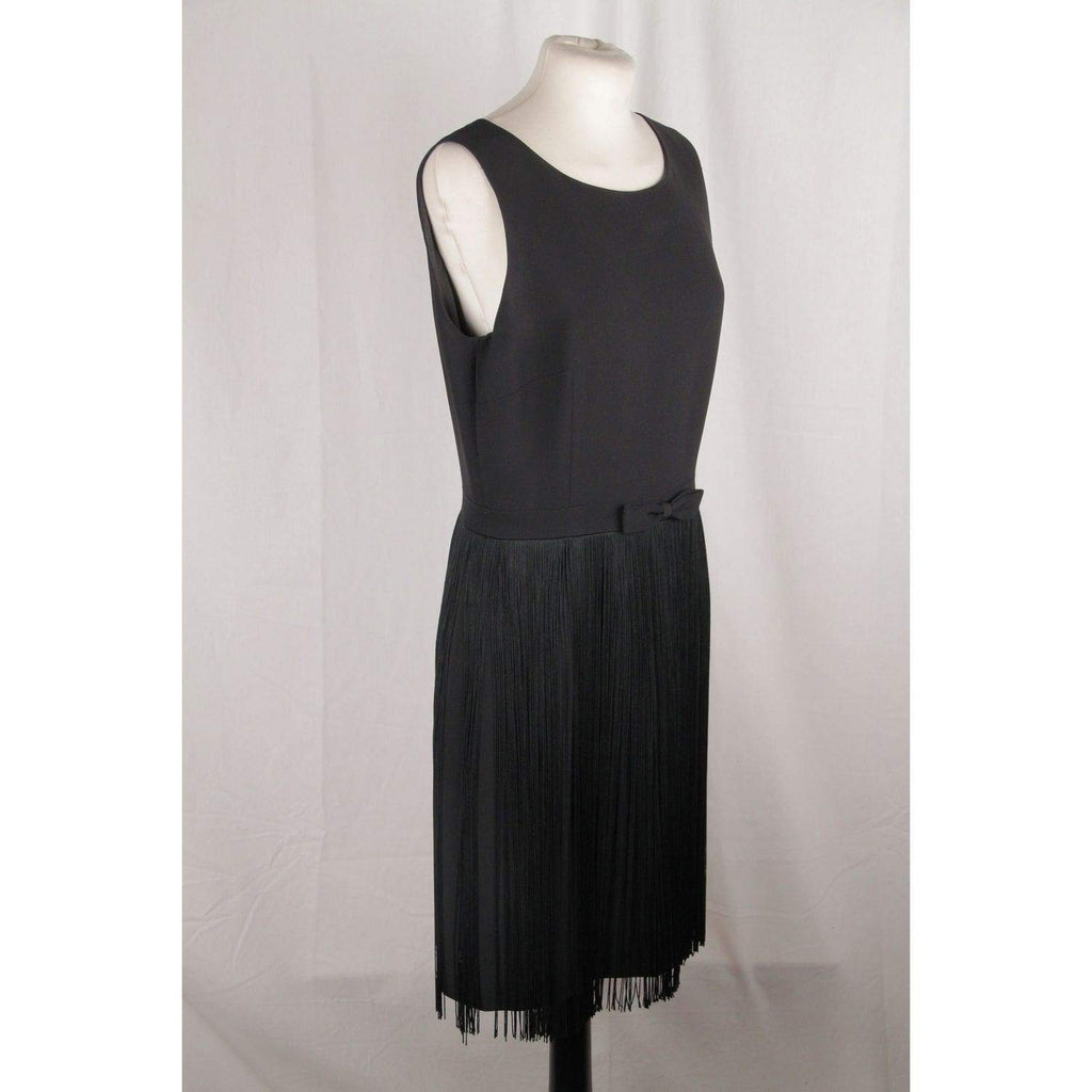 Moschino Cheap & Chic Little Black Fringed Dress Size 44 Opherty & Ciocci