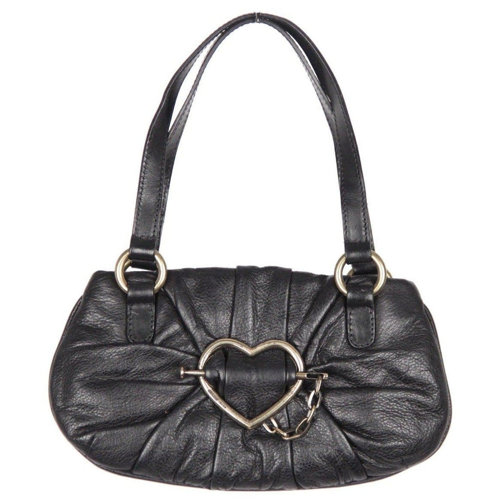 Moschino Jeans Black Leather Mini Handbag W/ Heart Buckle Opherty & Ciocci