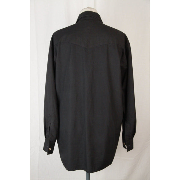 MOSCHINO JEANS Vintage Black Cotton RUFFLED Long Sleeve SHIRT Size M