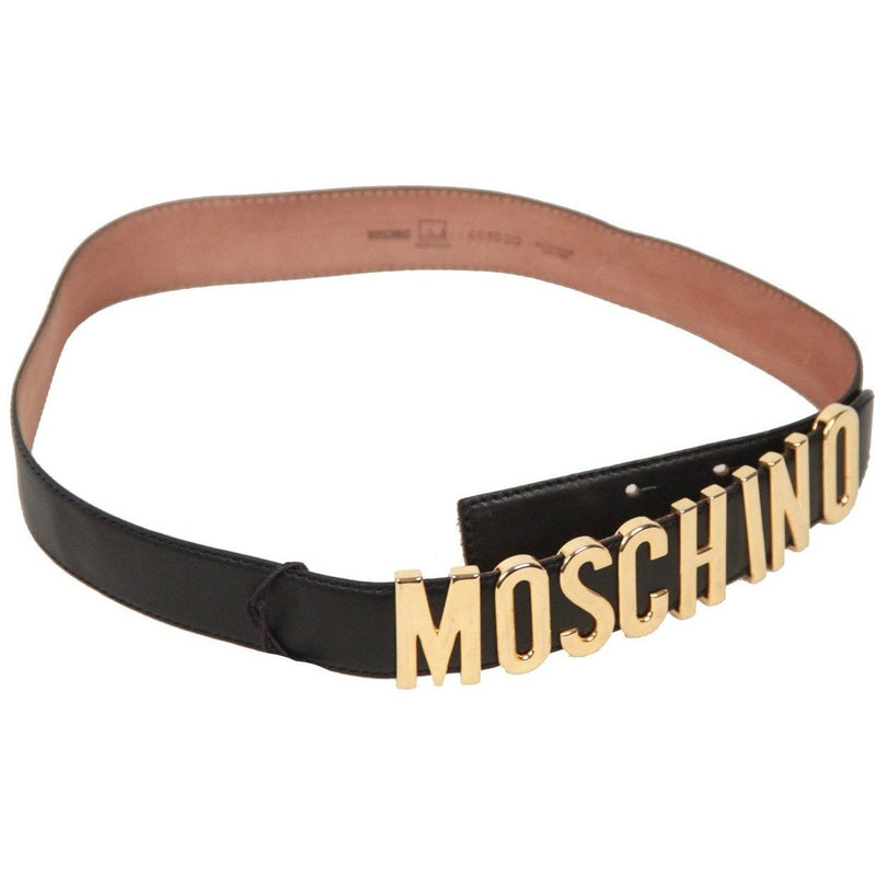 MOSCHINO REDWALL Vintage Black Leather LETTERED LOGO BELT Size 44