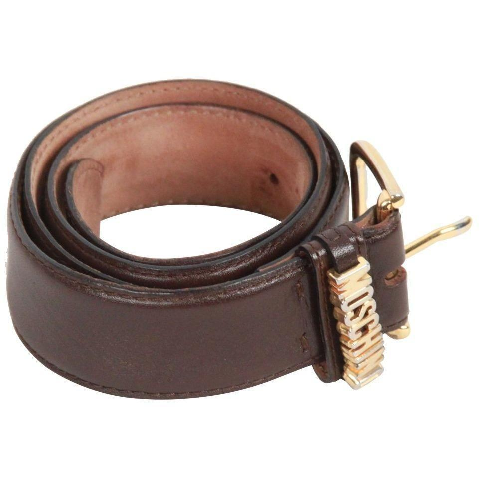Moschino Redwall Vintage Brown Leather Belt Size 44 Opherty & Ciocci
