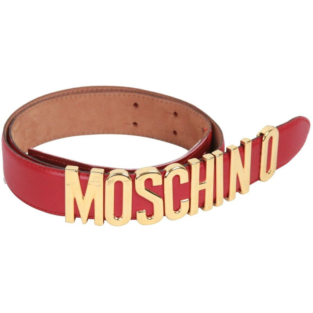 MOSCHINO REDWALL Vintage Red Leather LETTERED LOGO BELT Size 44