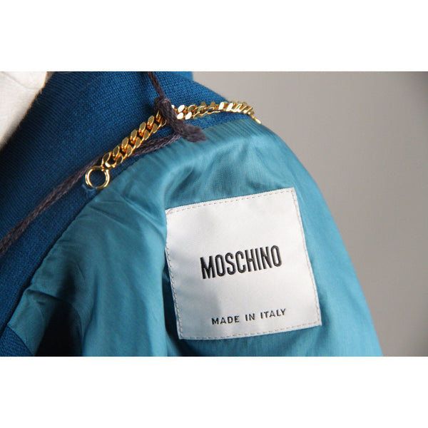 Moschino Teal Virgin Wool Cropped Jacket Size 44 Opherty & Ciocci