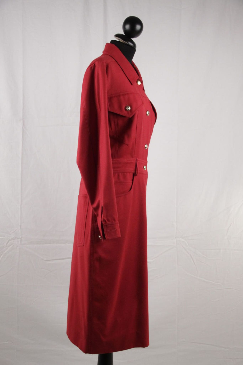 Moschino Vintage Red Pure Wool Long Sleeve Dress Size 42 Opherty & Ciocci