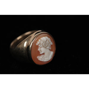 NATURAL Carved Shell CAMEO RING in Gilded STERLING SILVER