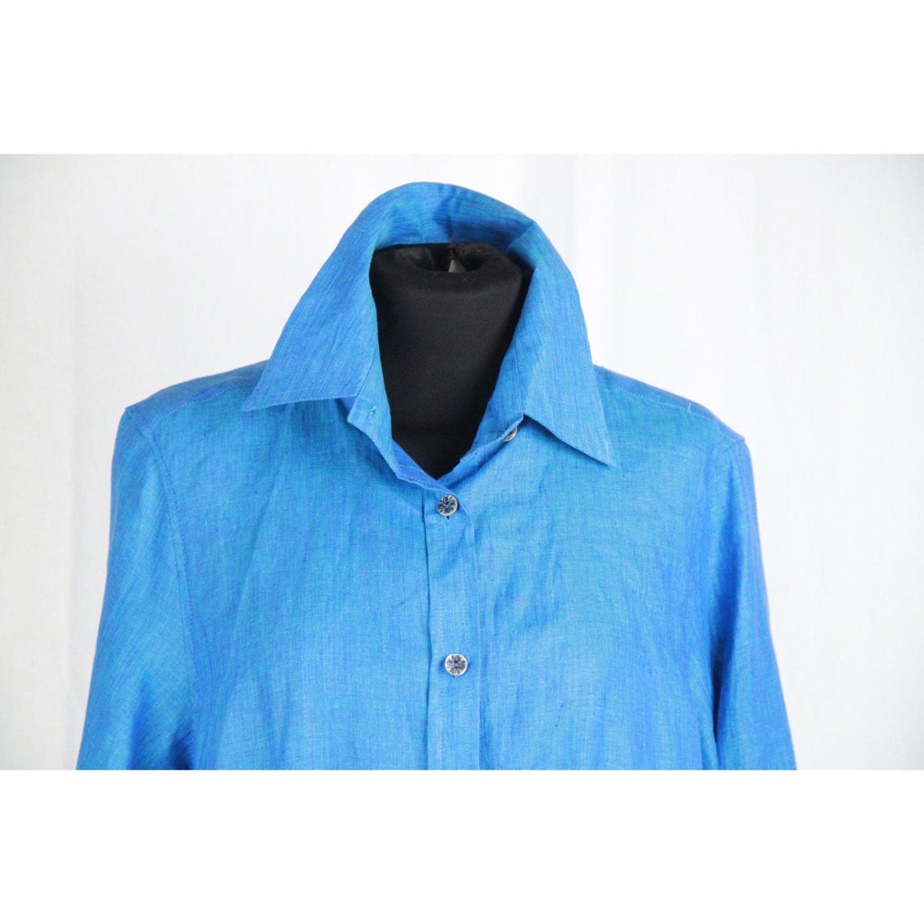 Nia Roma Turquoise Linen Look Button Down Shirt Size 40 Opherty & Ciocci