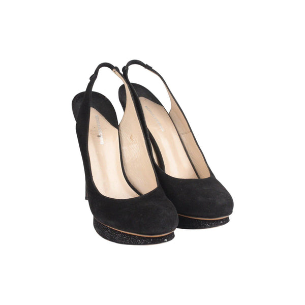 Black Suede High Heels Slingback Shoes Size 39 Opherty & Ciocci